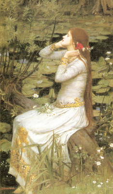 John William Waterhouse. Ophelia sitting by the pond