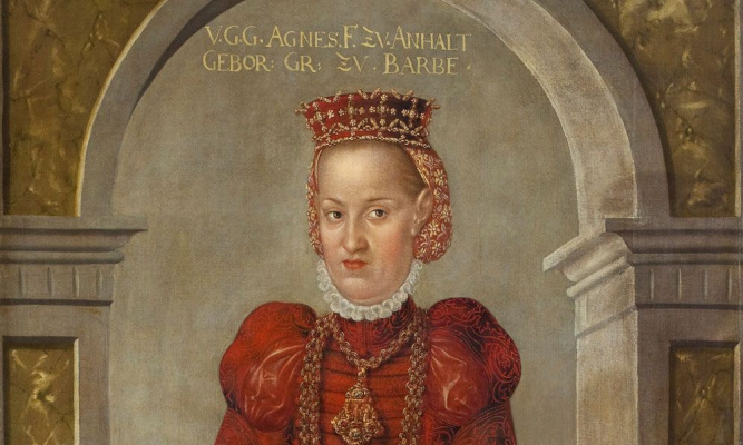 Lucas the Younger Cranach. Portrait of Agnes Barbie, wife of Prince Joachim Ernst of Anhalt. Detail