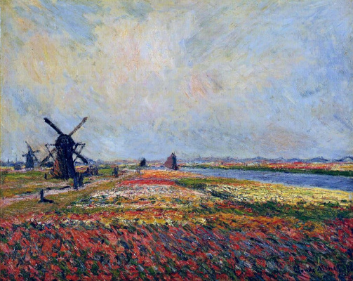 Claude Monet. Field of tulips and windmill near Leyden