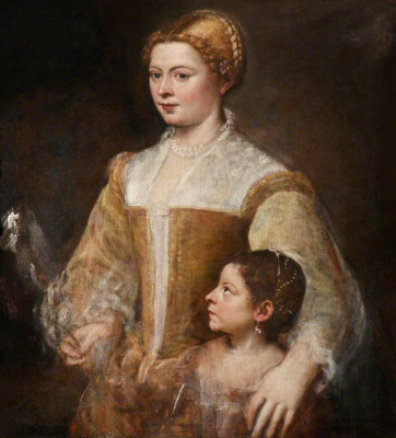 Titian Vecelli. Portrait of a noble woman with her daughter