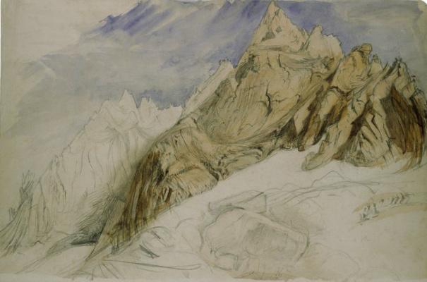 John Ruskin. View of Aiguille du Plan, Aiguille du Midi Mountain, Haute Savoie, Western Alps