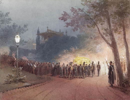 Mikhail Alexandrovich Zichy. The removal of the body of Alexander III from the Small Palace in Livadia.
