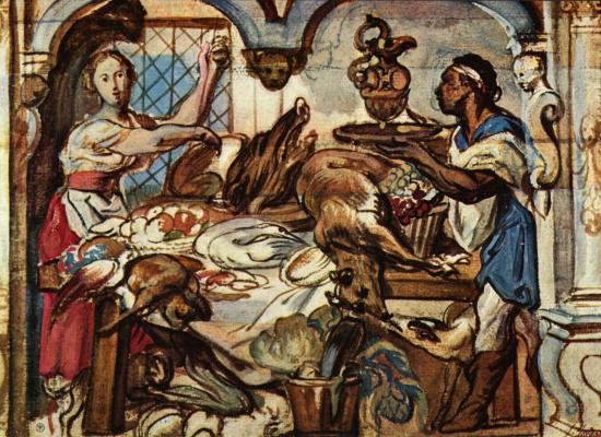 Якоб Йорданс. In the kitchen