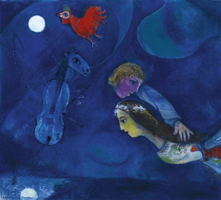 Marc Chagall. Red rooster in the night