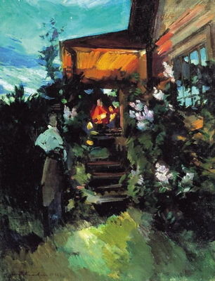 Konstantin Korovin. Summer evening on the porch