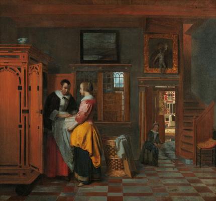 Pieter de Hooch. Interior with women at a linen closet