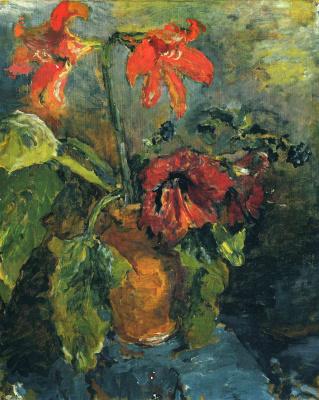 Oskar Kokoschka. Red flowers