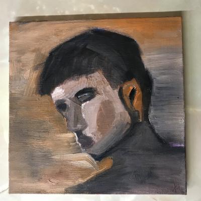 """Irina Pavlova. Oil on canvas 40/40 """"Attempt"""""""