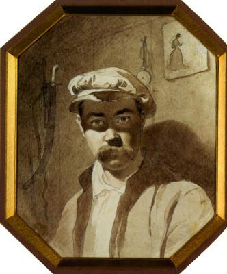 Taras Grigorievich Shevchenko. A self-portrait . 1848-1849 Sepia
