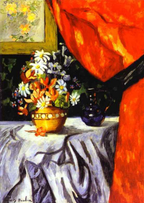 Francis Picabia. Vase with flowers on a white tablecloth