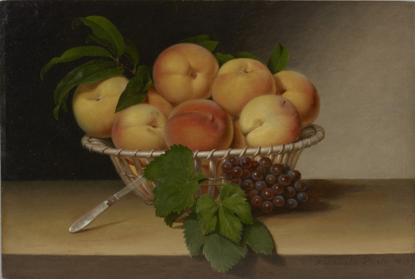 Raphaelle Peale. Still life: Basket of peaches