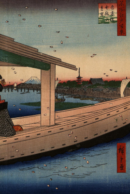 "Utagawa Hiroshige. View from afar on the Azuma bridge and the temple, Kinryuzan. The series ""100 famous views of Edo"""