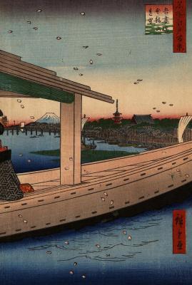 """Утагава Хиросигэ. Вид издали на мост Адзума и храм Кинрюдзан. Серия """"100 знаменитых видов Эдо"""""""