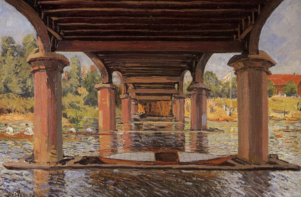 Alfred Sisley. Under the bridge at HAMPTON Court