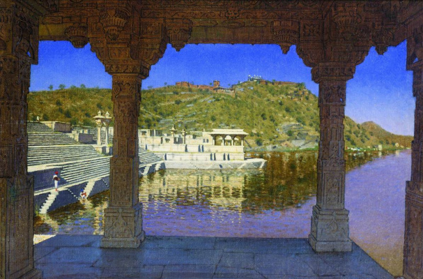 Vasily Vereshchagin. Rajnagar. Marble, decorated with bas-reliefs waterfront on lake in Udaipur