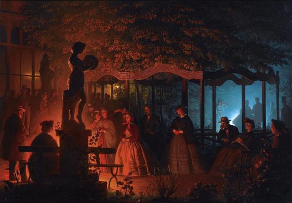 Петрус ван Шендель. Бенгальские огни в брюссельском парке Вокс-холл. 1864