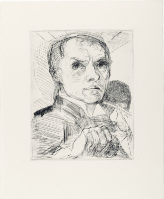 """Max Beckmann. Self-Portrait with Stylus (Plate 19 from the """"Faces"""" Series)"""