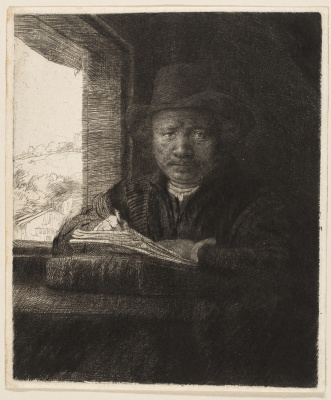 Rembrandt Harmenszoon van Rijn. Engraving self portrait by the window