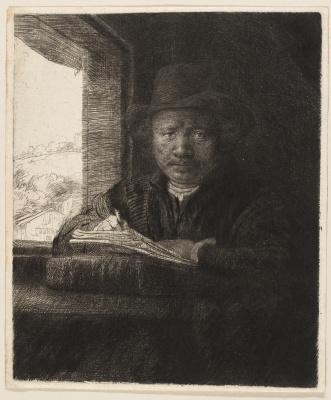 Rembrandt Harmenszoon van Rijn. Engraving self portrait by the window