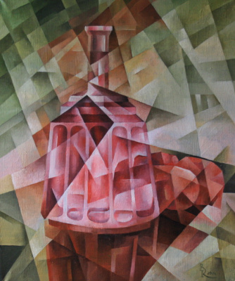 Vasily Krotkov. Red decanter. Kubofuturizm