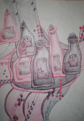 Елена Колобова. Still life with bottles
