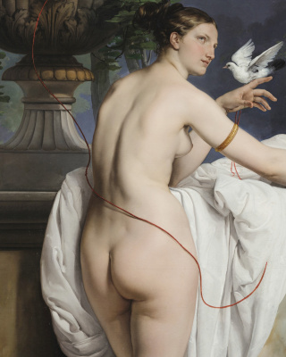 Francesco Ayets. Venus with two pigeons (Portrait of a ballet dancer Carlotta Chaber). Fragment