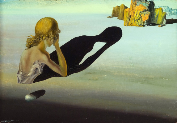 Salvador Dali. Repentance. Sphinx embedded in sand
