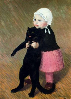Теофиль-Александр Стейнлен. Девочка с черной кошкой