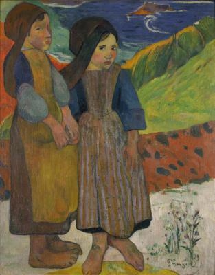 Paul Gauguin. Two Breton girls by the sea