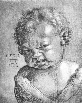 Albrecht Durer. Crying angel (sketch)