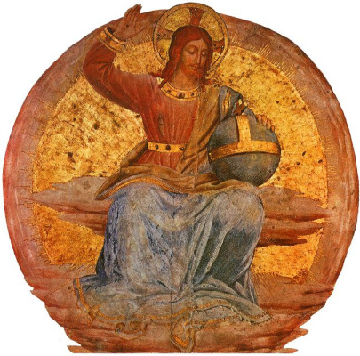 Fra Beato Angelico. Christ in glory. Fragment of the fresco of the chapel of San Brisio