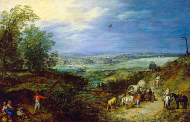 Jan Bruegel The Elder. Landscape with the peasants. About 1604