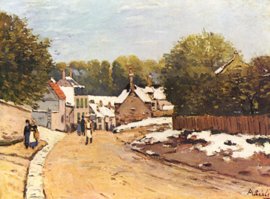 Alfred Sisley. First snow in Louveciennes