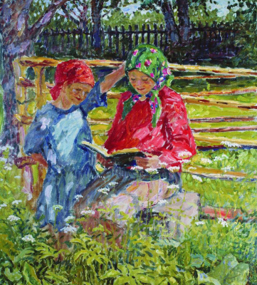 Nikolay Petrovich Bogdanov-Belsky. Girls in headscarves