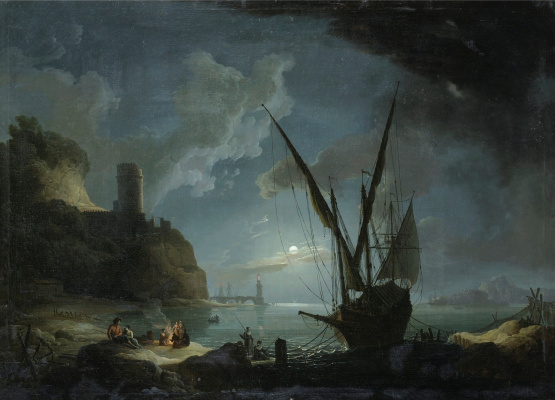 Pierre-Jacques Woller. A circle. Mediterranean harbor in the moonlight.