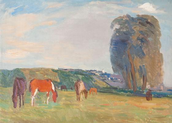 Sergey Vasilyevich Gerasimov. Landscape with horses