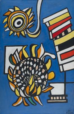 Фернан Леже. Два подсолнуха на синем фоне