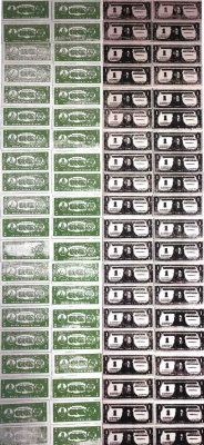 Andy Warhol. One hundred dollar bills (Face and underside)