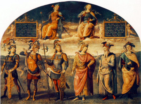 Pietro Perugino. Fortitude and temperance with six antique heroes