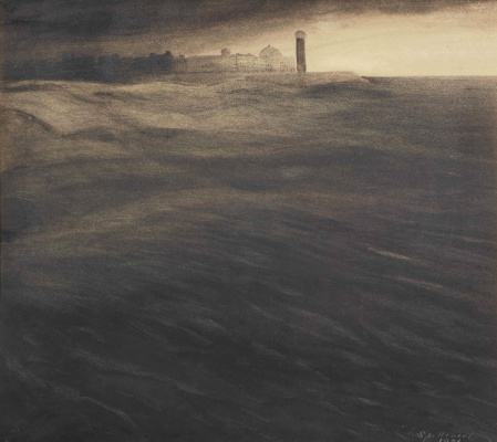 Леон Спиллиарт. 1901_The old light house at dusk_33 х 37.5_бумага, мел, акварель и туш