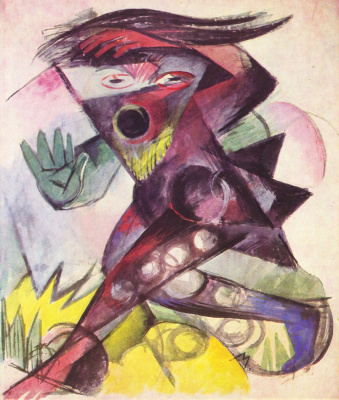 """Franz Marc. Caliban, costume design for Shakespeare's play """"the Tempest"""""""