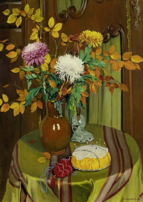 Felix Vallotton. Chrysanthemums and autumn leaves