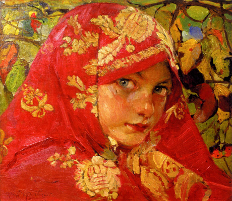 Fedor Grigorievich Krichevsky. Head of a girl in a headscarf. Portrait of Galia Staritska
