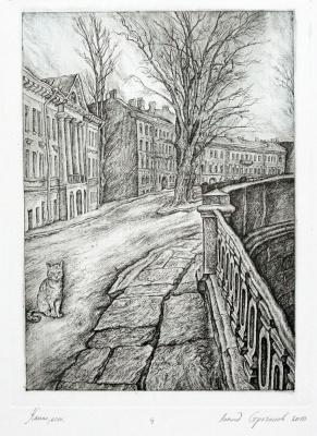 Leonid Valeryevich Stroganov. Cat on the canal