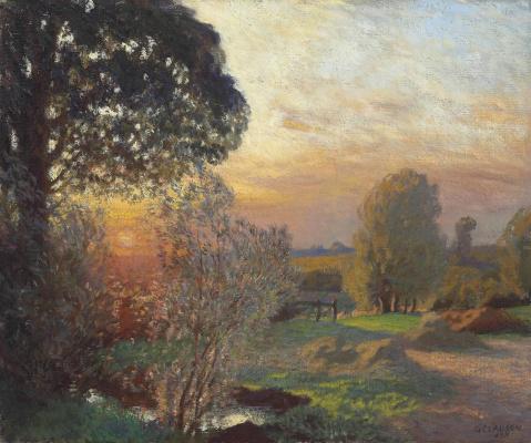 George Clausen. Serene sunset. September