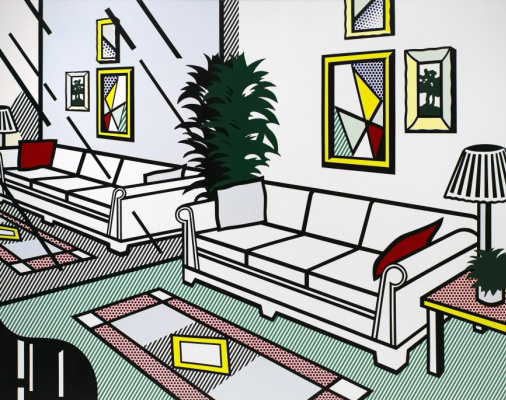 Roy Liechtenstein. Interior with mirrored wall