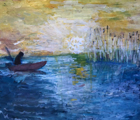 Murad Khalilov. Fisherman at sunrise