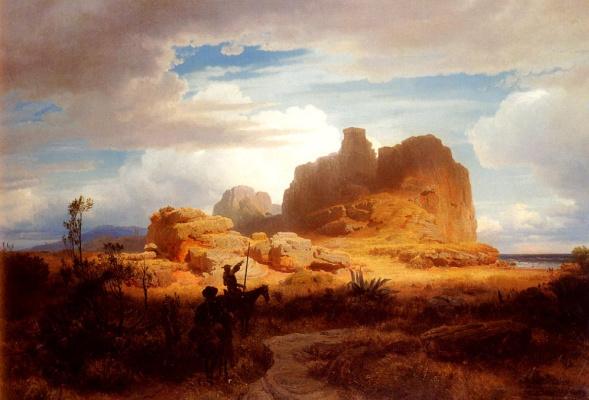 Oswald Achenbach. Don Quixote and Sancho Panza