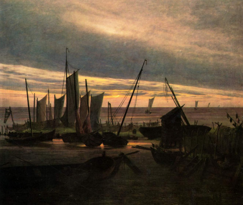 Caspar David Friedrich. Ships in the evening harbor