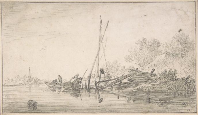 Ян ван Гойен. Сцена на реке